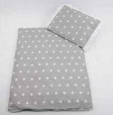 4 tlg.SET Bezug für Kinderwagen Bettwäsche Decke+Kissen+Füllung Sterne Grau Weis