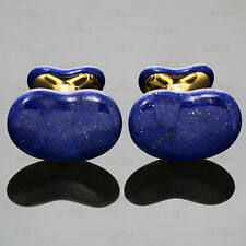 TIFFANY & CO. Elsa Peretti Lapis Lazuli 18k Yellow Gold Bean Cufflinks