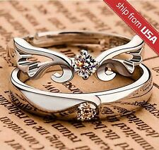 2pcs Adjustable 925 Sterling Silver Crystal Couple Her and His Promise Ring Band