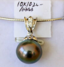 AAAA 10.2MM TAHITIAN SALTWATER PEARL PENDANT STERLING SILVER NECKLACE INCLUDED