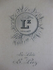 Essai d'ex libris pour M. E. Liez gravé sur acier probablement par Stern ? Paris