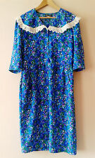 90s does 40s vintage floral tea dress lace collar 18 blue green landgirl