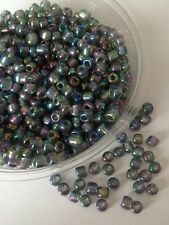 50g glass seed beads - Grey Metallic Rainbow - approx 4mm (size 6/0)