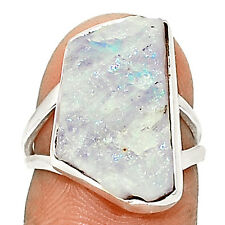 Rainbow Moonstone Rough 925 Sterling Silver Ring Jewelry s.6 SR198409