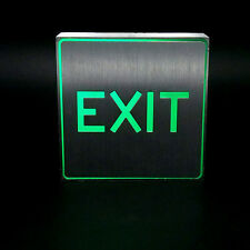 Silver Aluminum Green LED Light Restroom Toilet Sign Bar EXIT Club Wall Mount