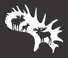 Moose Antler Hunting  - Die Cut Vinyl Window Decal/Sticker for Car/Truck