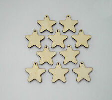 4 cm x 20pcs. Wooden Stars Laser Cut Craft Embellishment DIY Decorations Set