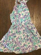 Bethany Mota Dress Size XS Purple Green White Floral T Back Sundress