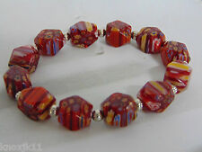 Murano Red Glass Faceted Millefiori 12 Bead BRACELET Silver Stations Lampwork!