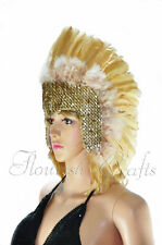 Wheat feather sequins las vegas dancer showgirl headpiece headdress