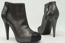 CHANEL ANTHRACITE ANKLE PLATFORM BOOTS 39/9  $1350