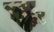 Slide on dog bandana size S in green camouflage print polycotton