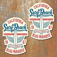 California Surf Beach Stickers Vintage Retro Classic Car Camper VW Beetle