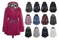 Womens Hooded Belted Fleece Ladies Button Check Hood Plus Size Jacket Coat 16-20