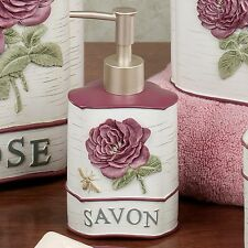 French Floral Bathroom Soap Lotion Dispenser Beautiful Hand Painted New