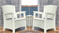 White 2 Piece Resin Wicker Storage Seat Club Chair Patio Set Outdoor Furniture