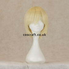 Short layered cosplay wig with fringe in milkmaid blonde UK seller, Prince style