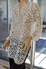 100% COTTON HAND CROCHET ROSSETTE PATTERN TUNIC OR MINI DRESS ONE SIZE LARGE WHI