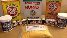 Makes 5 Gallons DIY Laundry Soap Detergent Kit Fels Naptha Washing Soda Borax