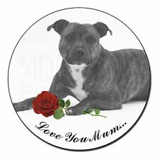 Staffie (B+W) Rose 'Love You Mum' Fridge Magnet Stocking Filler , AD-SBT6R2lymFM