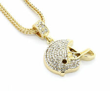 "Mens Gold Plated Iced Out Football Helmet Small Pendant 24"" Franco Necklace"