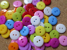 50 x 2-Hole Acrylic Buttons - Round - 12mm - Mixed Colour