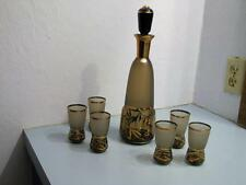 Bohemia Crystal Czech Decanter Set 6 Glasses Art Glass Frosted Gold Accents