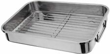 Stainless Steel Roasting Tray With Grill Size Medium 32X23CM NEW