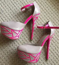 New Neon Pink & Nude Patent 5.5 Inch High Heels Formal/Clubwear/Party, Size 6