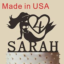 """Personalized Mermaid Cake Topper,Birthday Gift with Name and Age, Made in USA 5"""""""