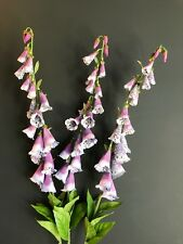 3 Tall Faux Silk Foxgloves 110cm Purple White Artificial Wild Flowers Fox Gloves