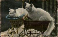 Bib Babies - Long Haired White Kitty Cats Baby Carriages Prams Postcard TUCK