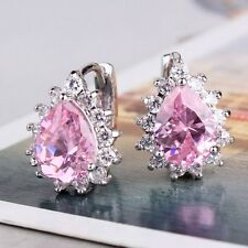 EXCELLENT pear 18K white gold filled Sweet heart hoop pink sapphire earring
