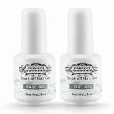2PCS Perfect Summer Top Coat + Base Gel Nail Art Polish 8ml UV LED Couleur Clear