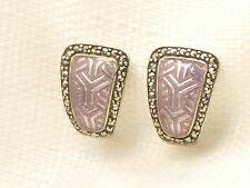 Estate Sterling Silver Purple Enamel & Marcasite KP .925 Earrings