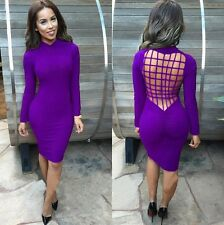 Women Long Sleeve Black Backless Bandage Bodycon Cocktail Club Party Sexy Dress