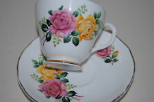 Liverpool Road Pottery Tea Cup Saucer Set Pink Yellow Roses England