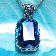 Vintage Blue Radiant Sapphire Pendant Chain Necklace 14k White Gold A144