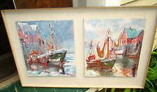 Framed Pr. of Paintings of Fishing Boats by H G Daniels. Harbor Marine Painting.