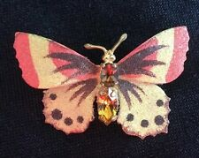 Vintage Orange & Yellow Glitter Butterfly Pin / Brooch Sparkle Retro