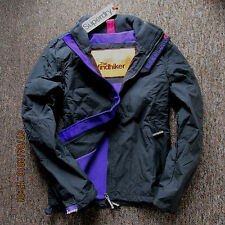 Superdry Womens Jacket  coat fleeced Polar Windhiker Dark Charcoal Grey Size S
