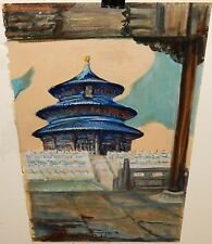 ANNA WILSON CHINESE TEMPLE ORIGINAL ACRYLIC ON PAPER PAINTING