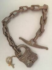 "VTG COME ALONG 1800S LAW ENFORCEMENT 16""CHAIN &RUGBY LOCK/KEY~handcuffs"