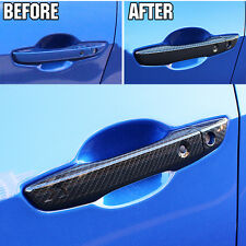 FIT FOR 2016 2017 HONDA CIVIC CHROME CARBON FIBER STYLE DOOR HANDLE COVER BEZEL
