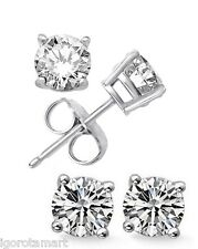 Good Quality 92.5 Silver CZ Clear Crystal 6mm Ear Stud Studs Round Earring 6 mm