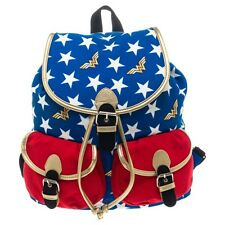 Official Wonder Woman Red White and Blue Knapsack Backpack Bag - DC Comics Logo