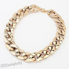 Elegant Gold Plated Filled Tone Resin Thick Hollow Out Sweater Chains Necklace