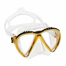 Cressi Sub Lince 2 Lens Scuba Diving Silicone Mask For Smaller Faces Yellow