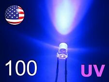 100pcs 3mm UV - Purple LED - Water Clear Round - Ultra Violet Diodes - DIY