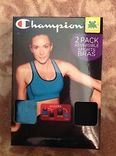 CHAMPION ~ 2 pack LARGE reversible sports bras BLUE & BLACK